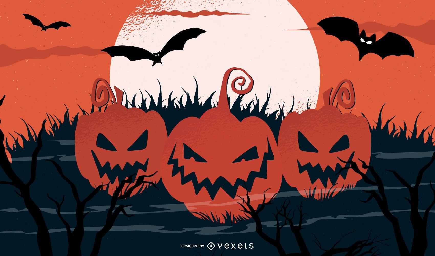 Calabazas de Halloween a la luz de la luna
