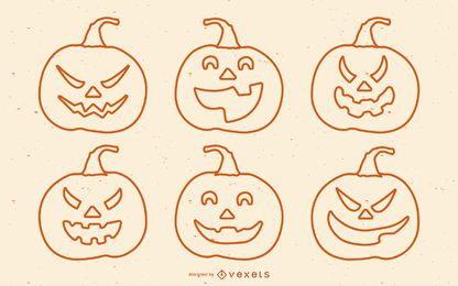 Halloween Scary Pumpkins Set