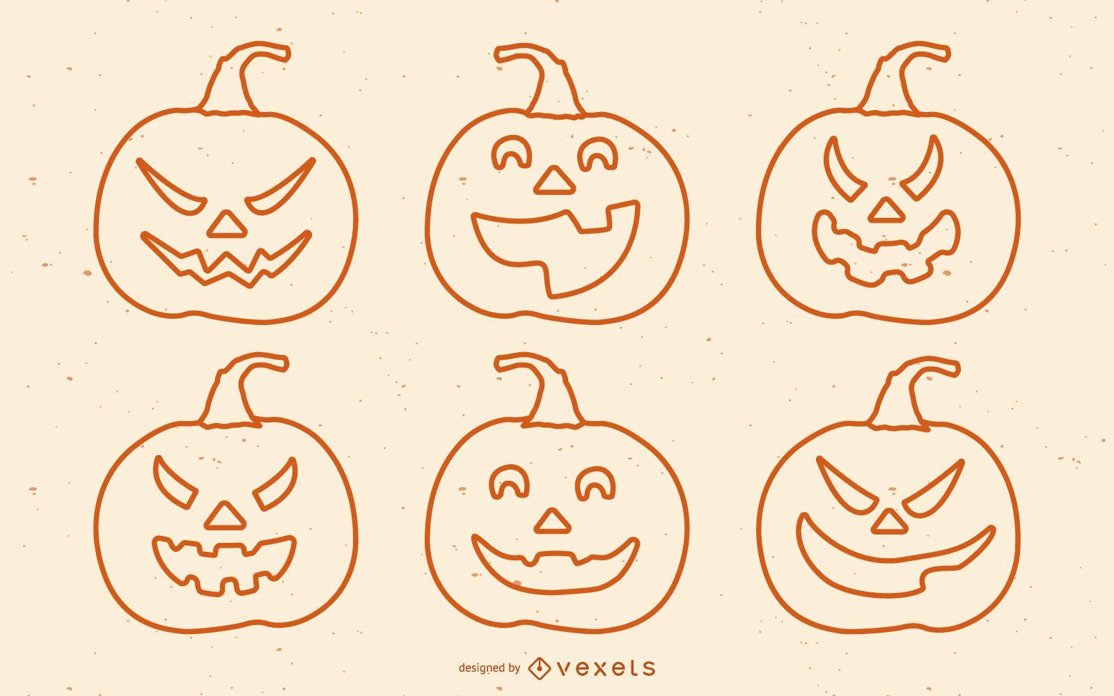 Conjunto de calabazas de miedo de Halloween