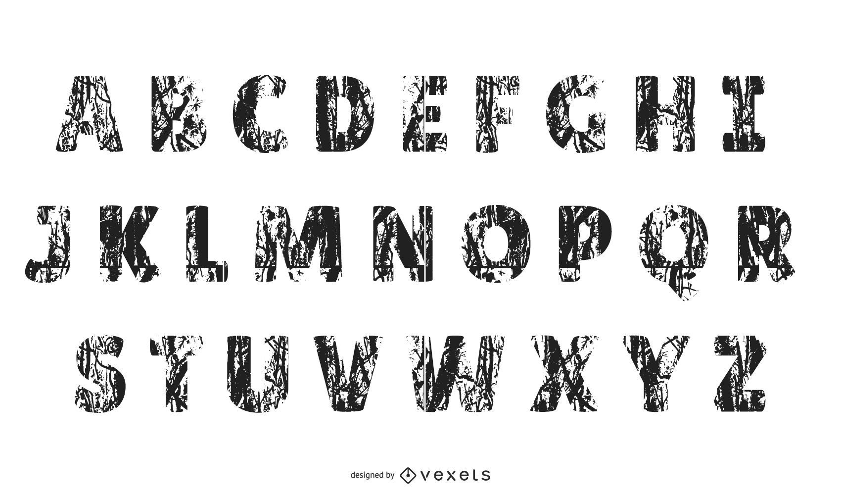 Tire Prints Letters Of The Alphabet Vector