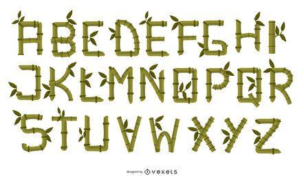 Letras criativas de bambu 02 Vector