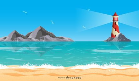 Férias de verão praia Vector 3