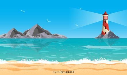 Vector de vacaciones de faro de verano