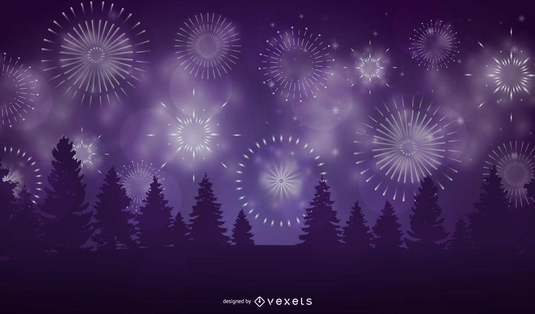 Diseño de ilustración de bosque de fuegos artificiales