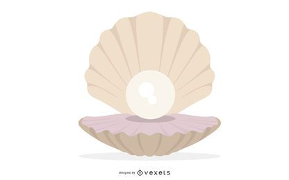 White Oyster Pearl Illustration