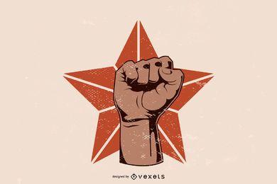 Vektor-Rundschreiben Logo Fist Star Material
