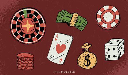 Jogo de dinheiro material de vetor