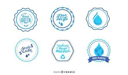 Conjunto de insignias y pegatinas de agua