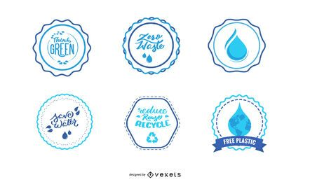 Emblemas de água e conjunto de adesivos