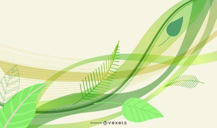 Eco folhas e vetor de onda verde
