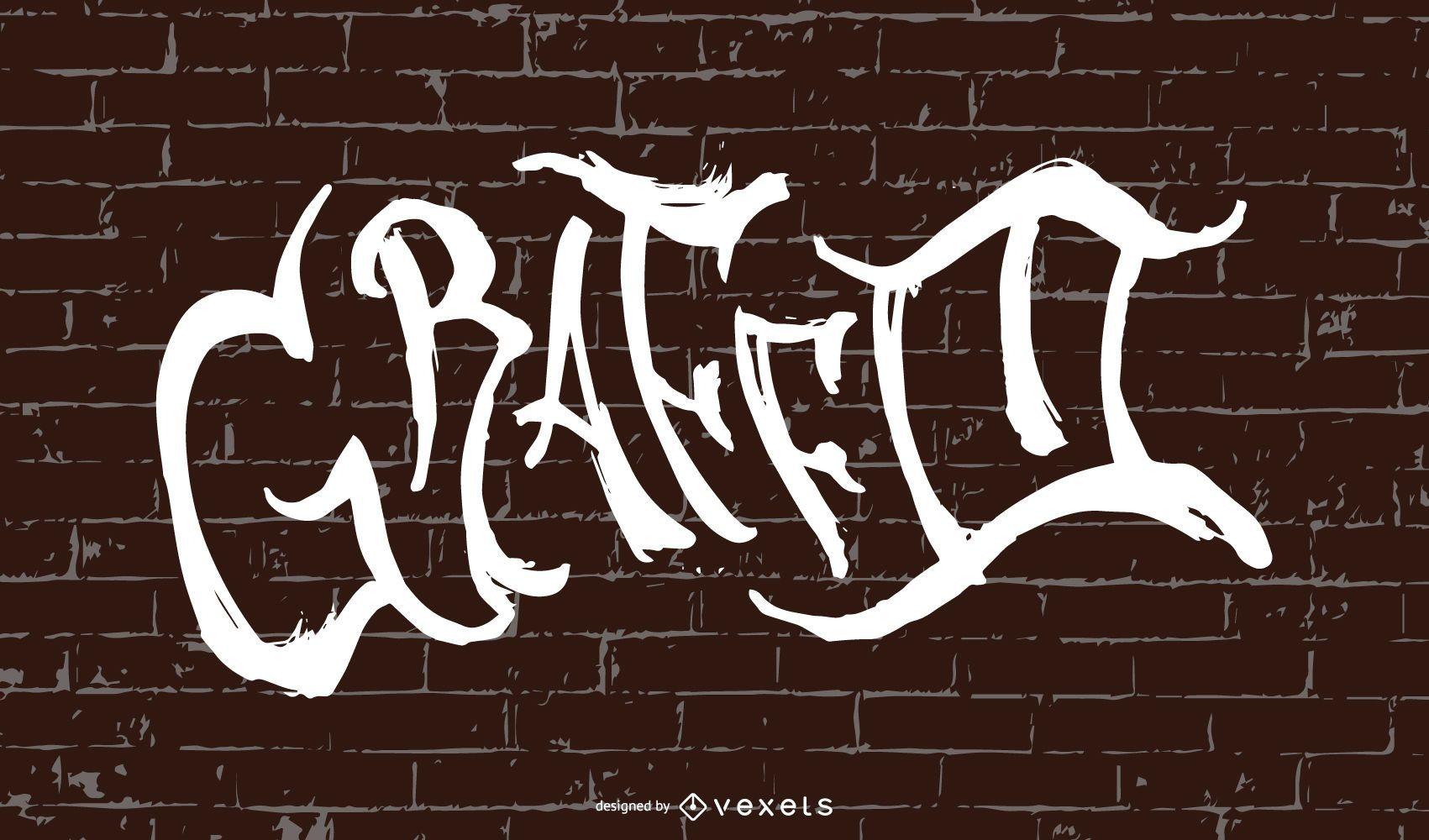 Belo design de fonte Graffiti na parede