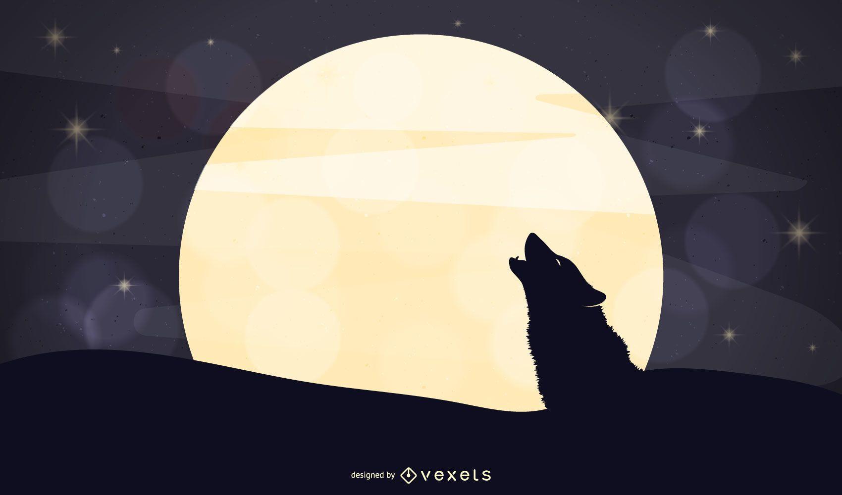 Wolf moonlight illustration