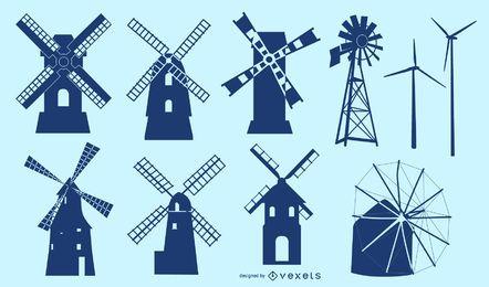 Conjunto de silueta de edificio de molino de viento