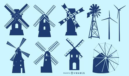 Windmill Building Silhouette Set