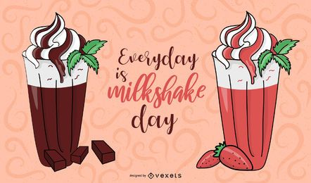 Vector Milkshake de fresa y chocolate.
