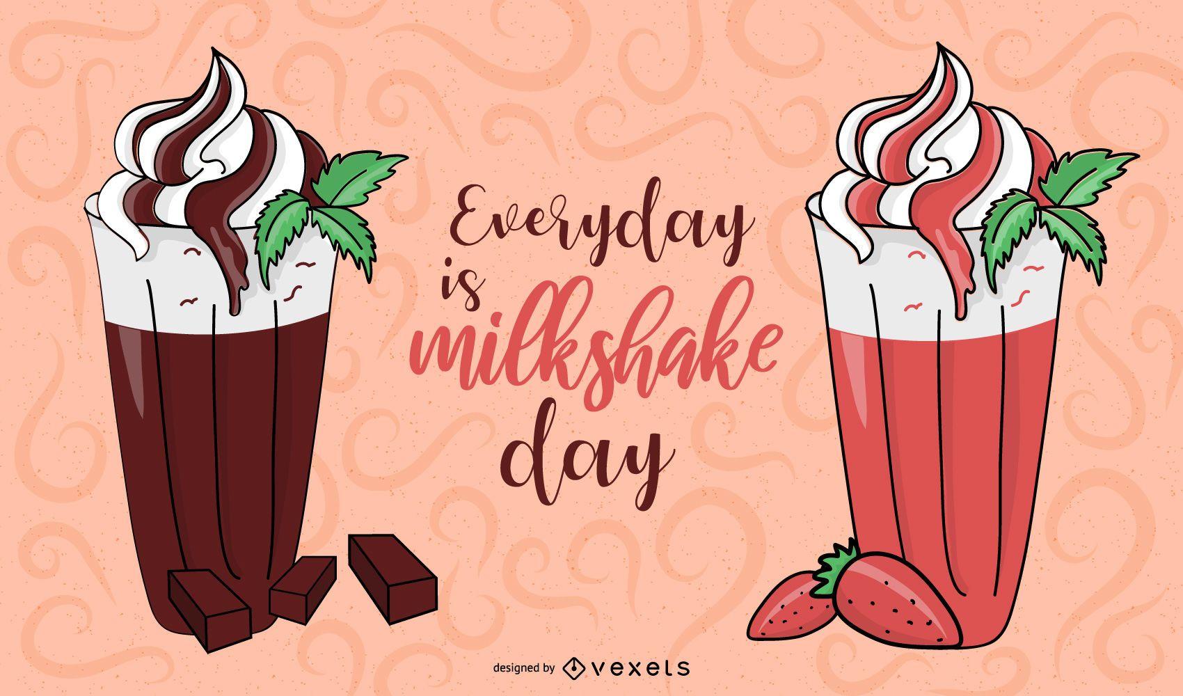 milkshake strawberry chocolate illustration