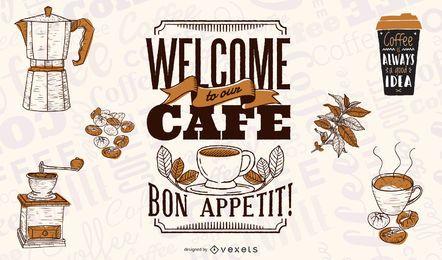 Bem-vindo ao nosso design de ilustração de café