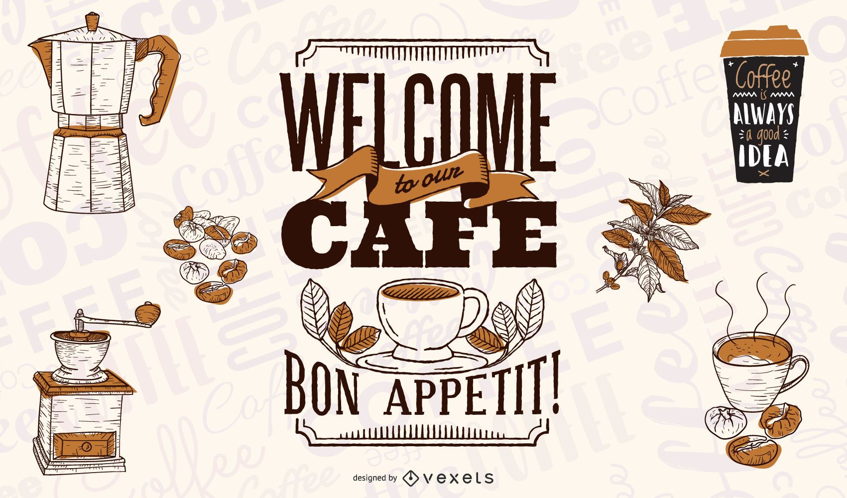 Welcome to our cafe illustration design