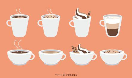 Copo de café e conjunto de caneca