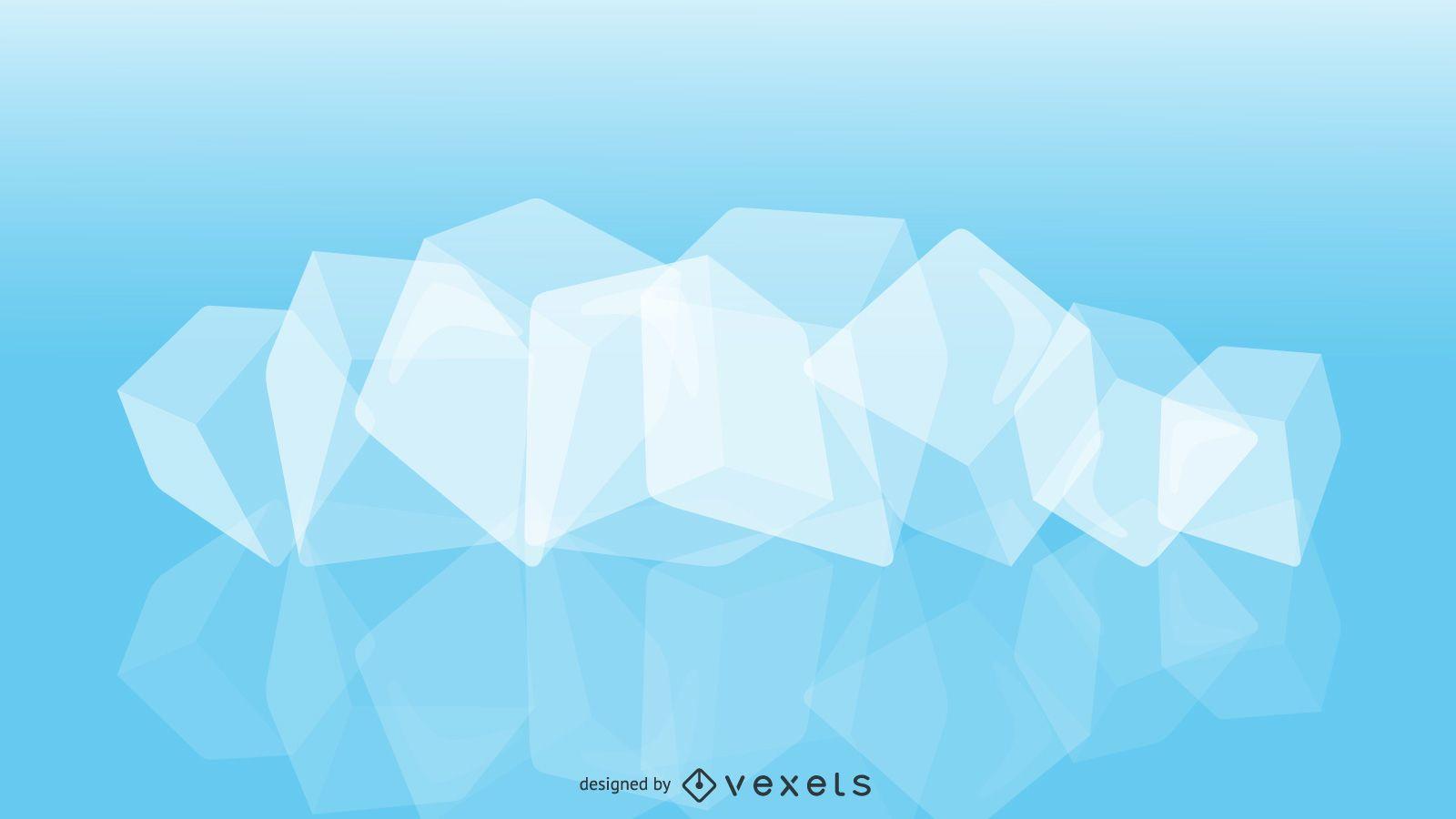Diseño de ilustración de cubitos de hielo