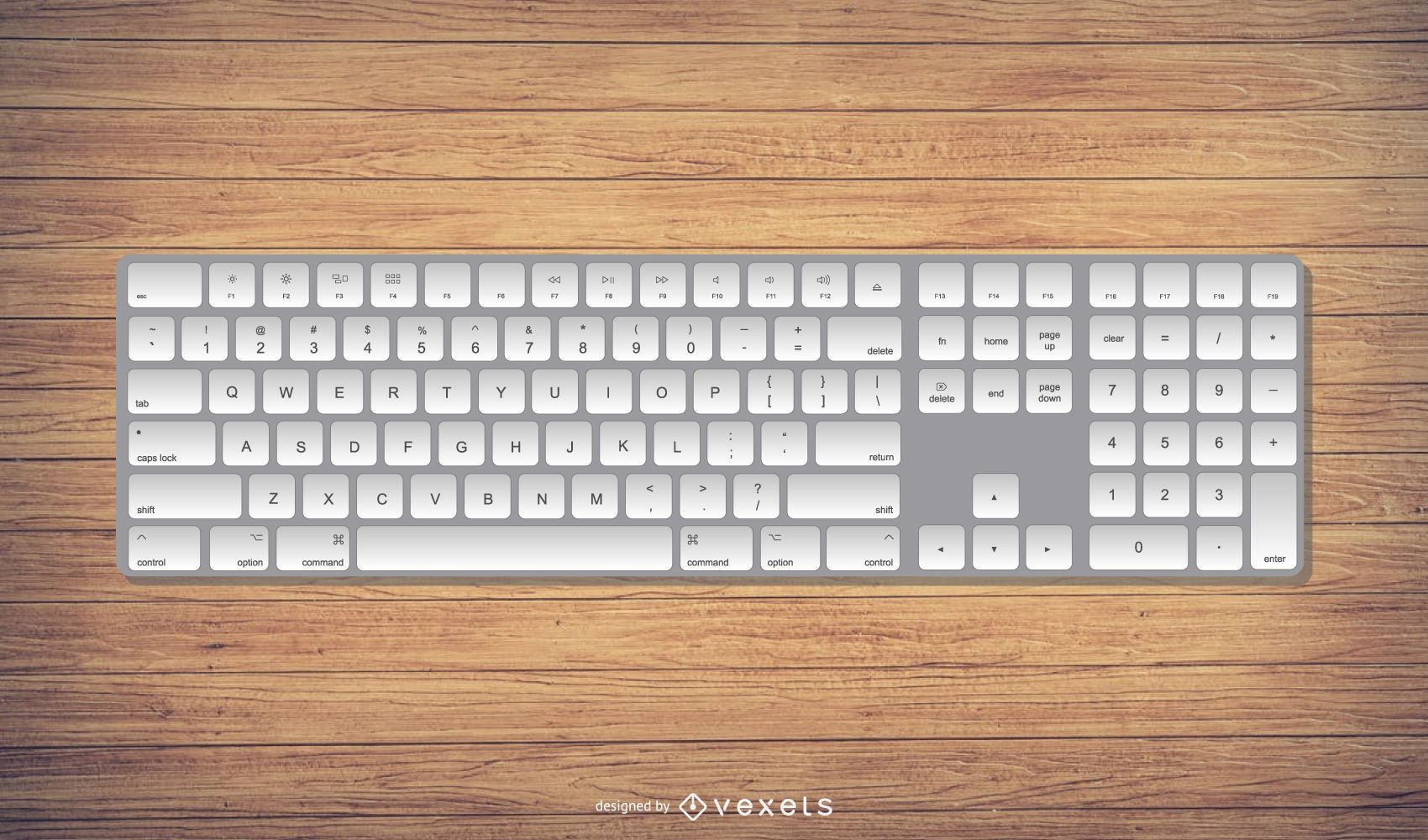 Realistic Mac Style Keyboard Illustration
