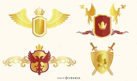 Vector de colección de heráldica europea