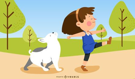 girl and dog park illustration
