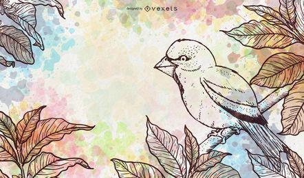 Watercolor bird illustration design
