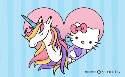 Gatito con unicornio rosa vector