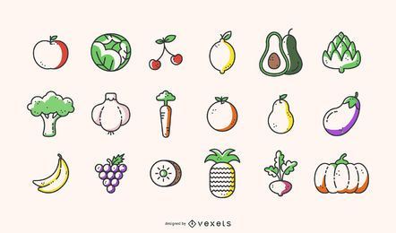 Fruits and vegetables icon collection