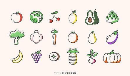 Precioso vector de frutas y verduras