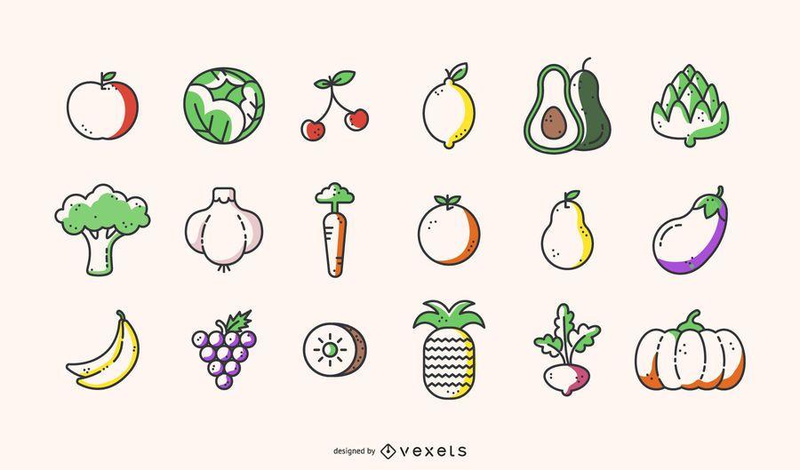 Vetor De Frutas E Legumes Adorável