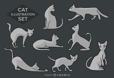 Silhuetas de gato e ilustrações