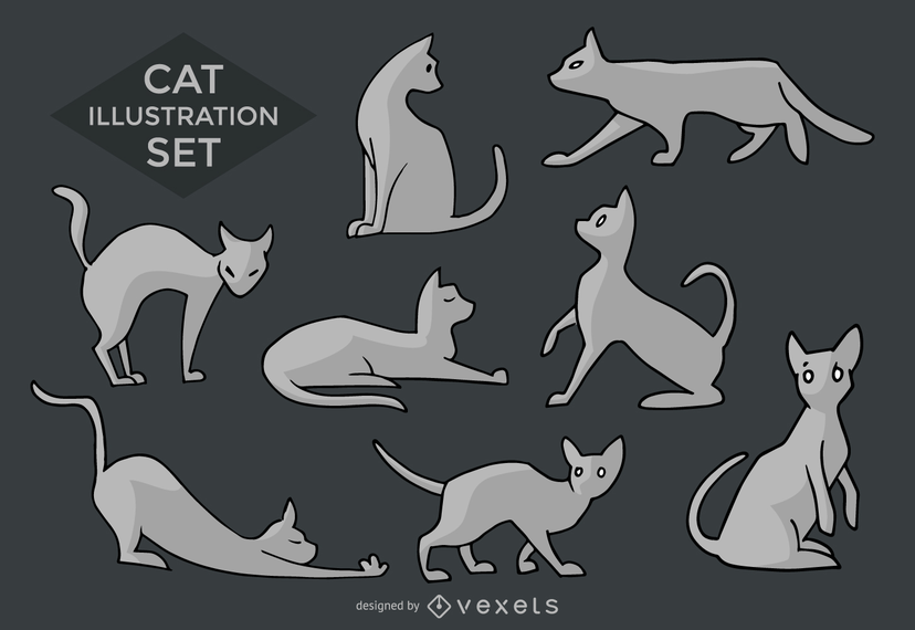 Cat silhouettes and illustrations