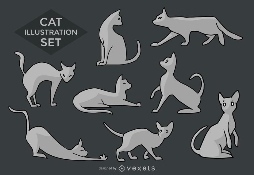 Siluetas e ilustraciones de gatos.