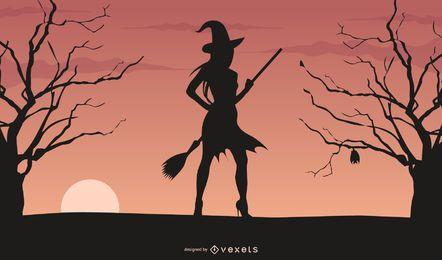 Vector de bruja de Halloween
