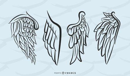 Conjunto aislado de alas de silueta
