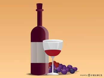 Grapes and wine realistic illustration