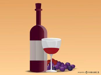 Ilustración realista de uvas y vino.