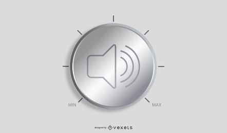 Silberner Lautstärkeregler 05 Vektor