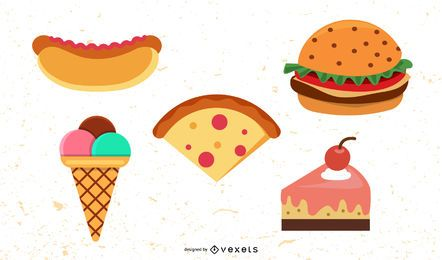 junk food flat illustration set