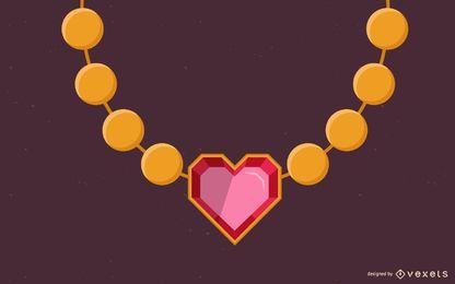 diseño de ilustración de collar de corazón