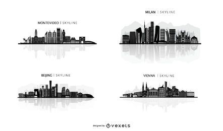conjunto de ilustración de horizontes de la ciudad