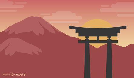 Shinto Torii Silhouette Vector Graphic