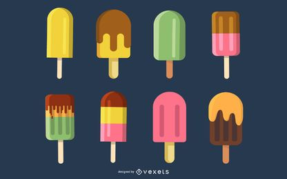 Summer Refreshing Popsicles Vector