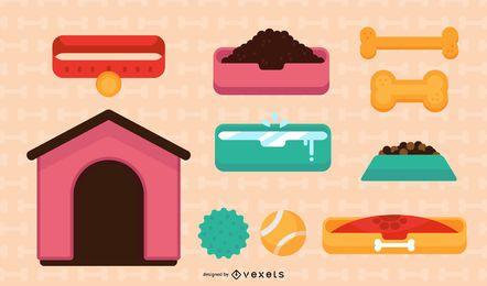 Conjunto de ilustración de elementos de perro