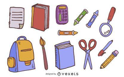 Conjunto de doodle de elementos escolares