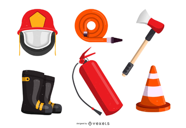 Firefighters And Fire Equipment Vector