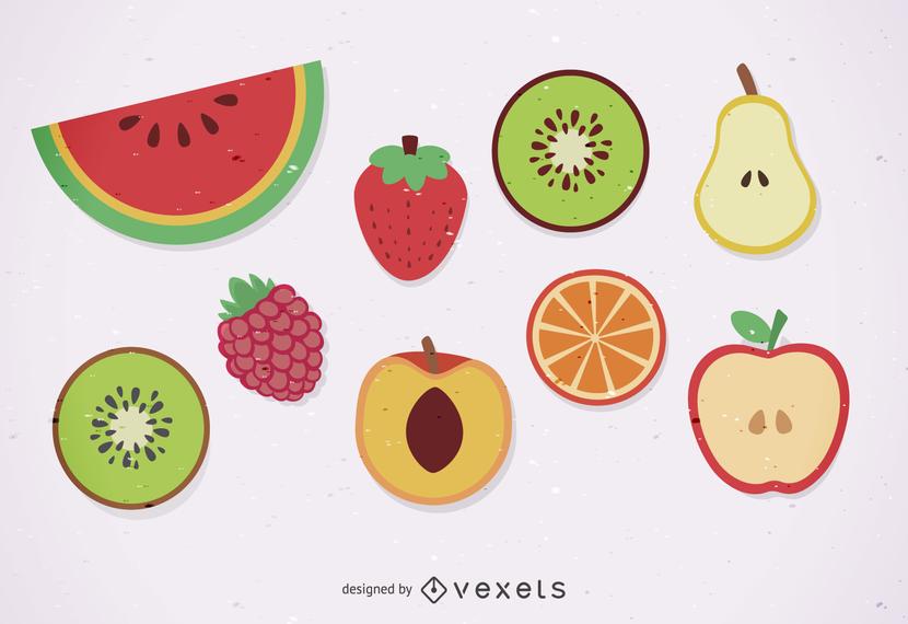 Isolated fruits illustration set