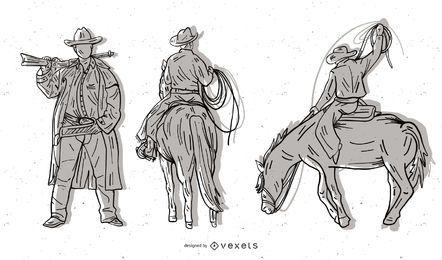 Dibujo vectorial en blanco y negro serie vaquero